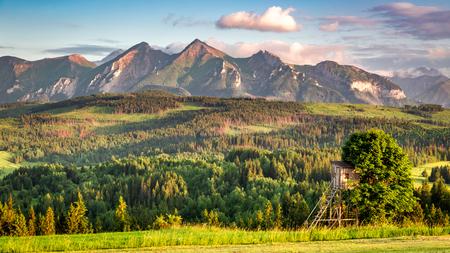 Stunning Tatra mountains at sunset in summer 스톡 콘텐츠