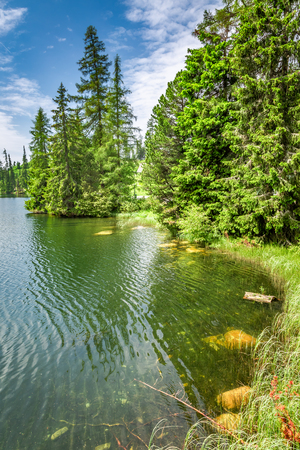 Wonderful Strbske Pleso and mountain lake in theTatra mountains