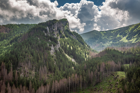 Stunning view to Tatras mountain in cloudy day, Poland