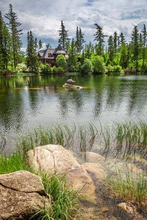 Beautiful Strbske Pleso and mountain lake in summer