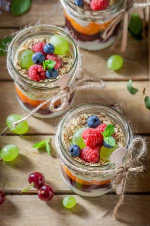 Homemade granola in jar with yogurt and berry fruits Stock Photo