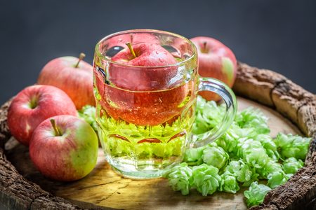 Fresh cider beer with wheat, hops and apples