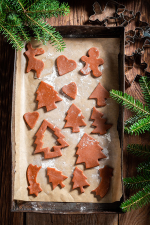 Top view of preparation for baking Christmas gingerbread cookies Stock Photo