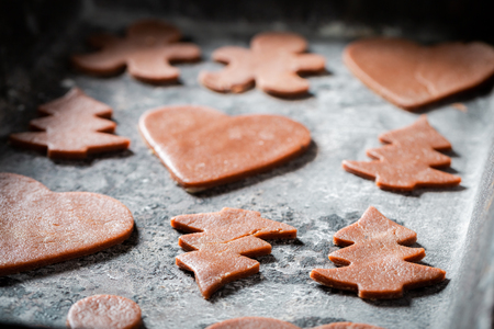 Closeup of Christmas gingerbread cookies on baking tray