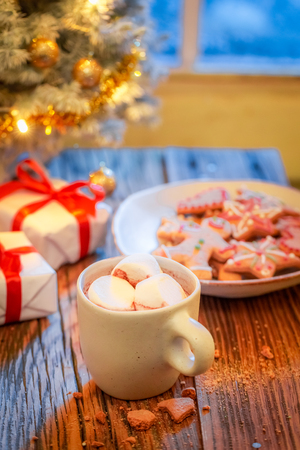 Hot chocolate, sweet gingerbread cookies and Christmas tree with gifts