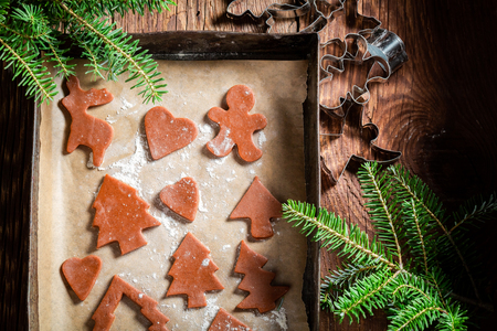 Preparation for baking gingerbread cookies for Christmas on baking tray