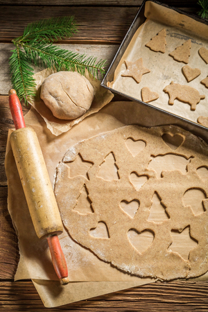 Sweet and tasty gingerbread cookies before baking for Christmas