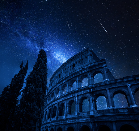 Colosseum in Rome with milky way and falling stars, Italy Фото со стока