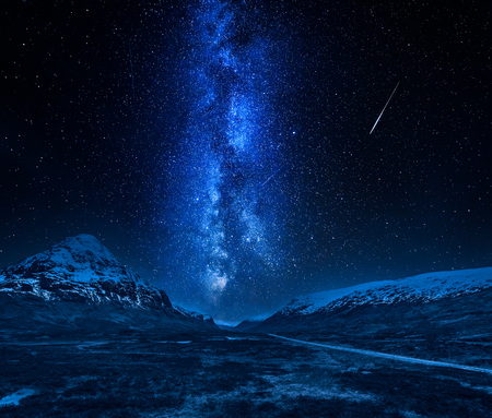 Milky way and falling stars in highlands, Scotland at night
