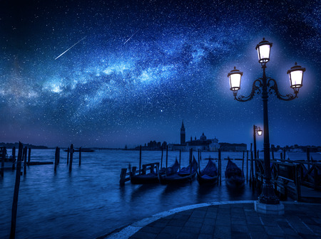 Milky way and falling stars over Grand Canal in Venice