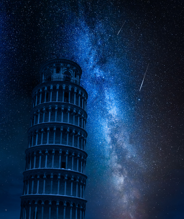 Milky way, falling stars and leaning Tower of Pisa