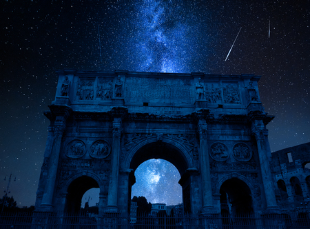 Milky way with falling stars over Triumphal arch, Rome, Italy Editorial