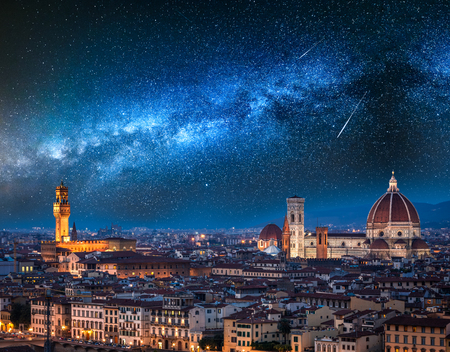 Milky way and falling stars over Florence at night, Italy