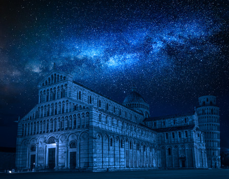 Milky way and falling stars over ancient monuments in Pisa Stock Photo