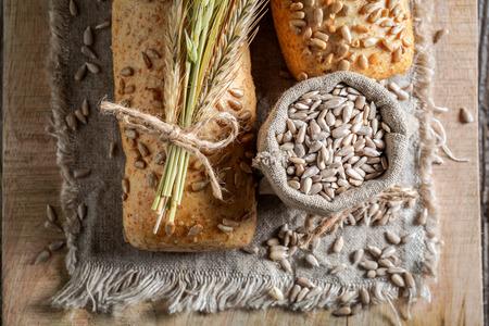 Tasty ciabatta buns with wheat and ears