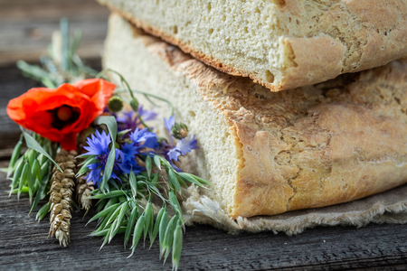 Healthy and homemade bread with poppies and cornflowers