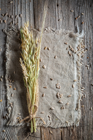 Ears on a linen cloth with seeds as background Stock Photo