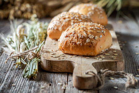 Healthy and fresh rolls with oat flakes Stock Photo