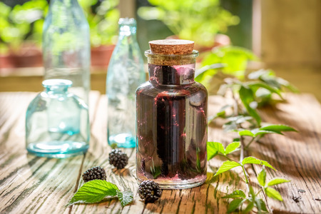 Healthy blackberry tincture made of fresh fruits and alcohol 版權商用圖片