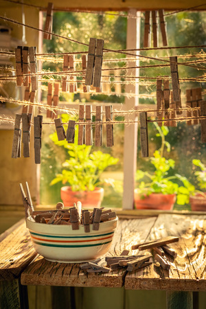 Rustic cottage to dry herbs in countryside