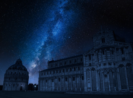 Milky way over monuments in Pisa, Italy