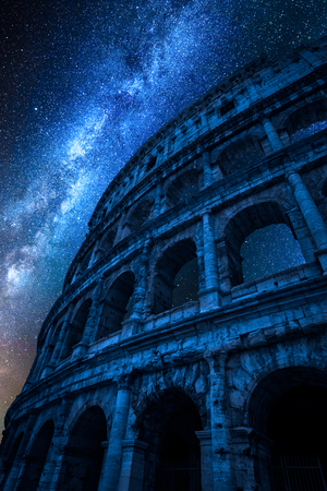 Milky way over Colosseum at night in Rome, Italy