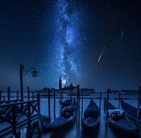 Milky way over Grand Canal in Venice, Italy Фото со стока