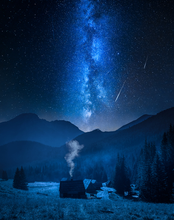 Milky way over valley Chocholowska with cottage, Tatra Mountains, Poland