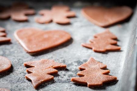 Closeup of Christmas gingerbread cookies before baking