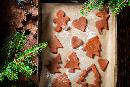 Closeup of preparation for baking gingerbread cookies for Christmas