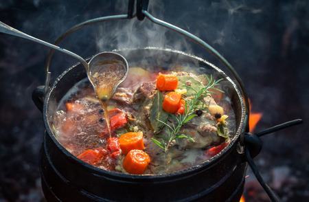 Tasty and homemade hunters stew with meat and carrots