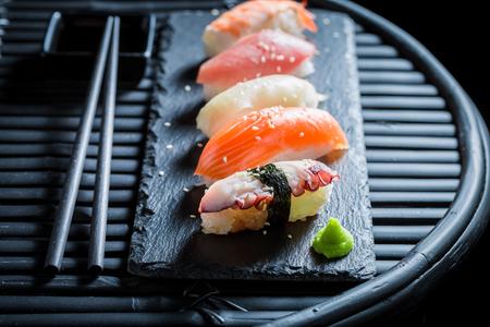 Closeup of Nigiri sushi with rice and seafood 写真素材