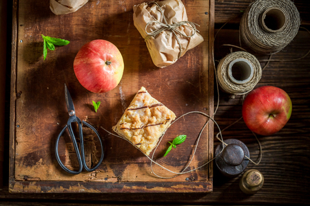 Top view of sweet take away apple pie with crumble Stock Photo