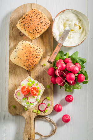 Sandwich with bread, fromage cheese and radish