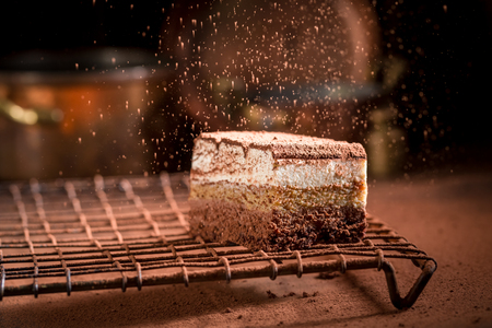 Tiramisu cake on metal cooling grid falling cocoa powder