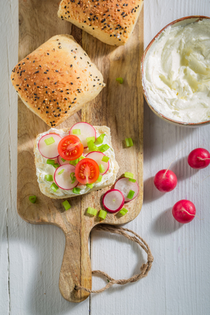 Top view of sandwich with bread, fromage cheese and radish Stok Fotoğraf