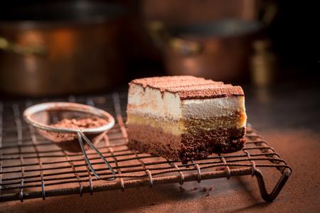 Delicious tiramisu cake with cocoa powder, mascarpone and biscuits Stock Photo