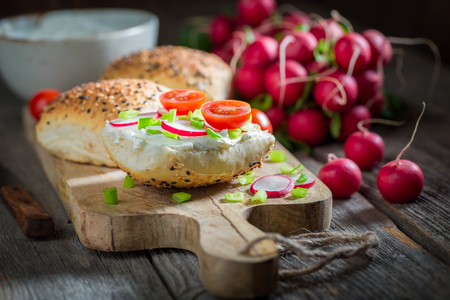 Spring sandwich with fromage cheese and fresh cherry tomatoes