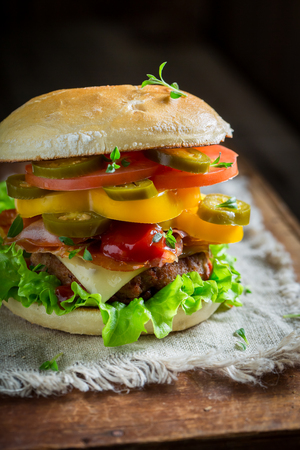 Closeup of spicy hamburger with beef, cheese and vegetables