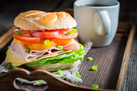 Closeup of sandwich with vegetables and ham in the morning 免版税图像