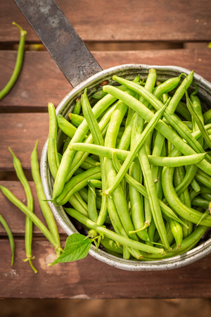 Tasty green beans in an old aluminum pot Stock Photo
