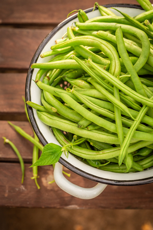 Tasty green beans in a small greenhouse