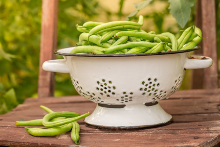 Tasty green beans in a colander in an old chair