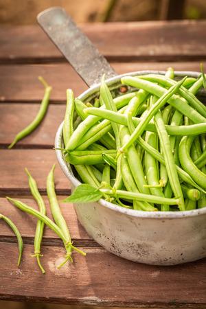 Healthy green beans in an old aluminum pot