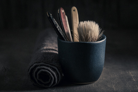 Classic tools for shave with soap, brush and old razor