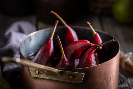 Tasty mulled wine with pears and spices