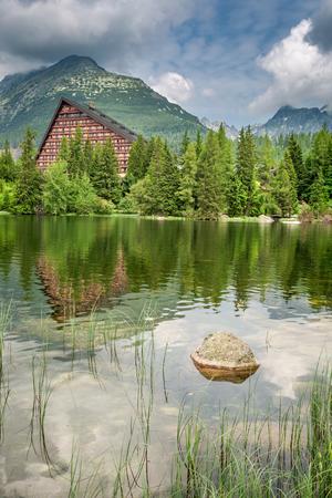 Mountain lake in Strbske Pleso in summer, Slovakia
