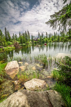 Strbske Pleso and mountain lake in the Tatra mountains, Slovakia