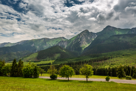 Cloudy day in Tatra mountains in Slovakia 스톡 콘텐츠