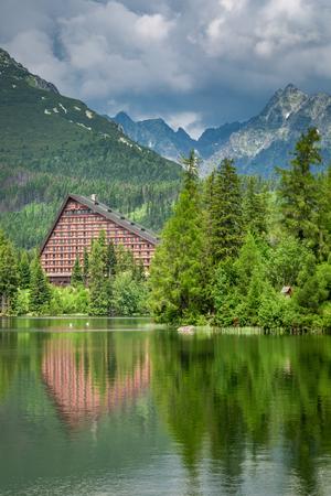 Wonderful mountain lake in Strbske Pleso, Slovakia